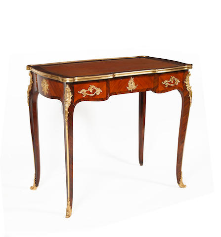 A good reproduction, Louis XV style, rosewood and gilt metal mounted bureau plat
