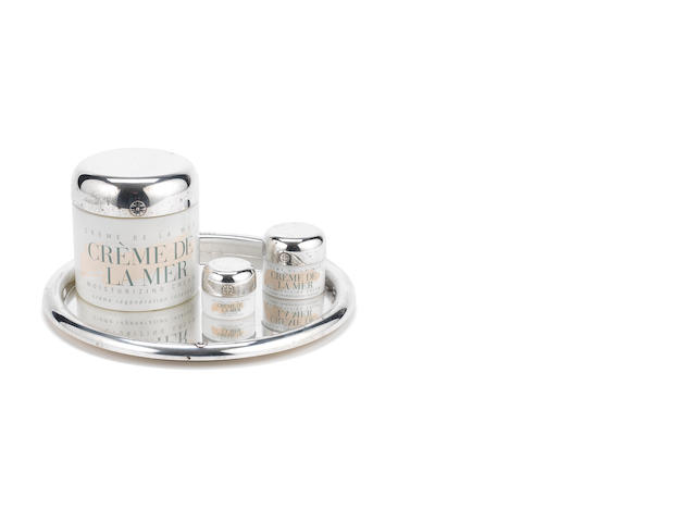 THEO FENNELL FOR CREME DE LA MER: A  collection of silver mounted product jars on a tray London 2005  (10)