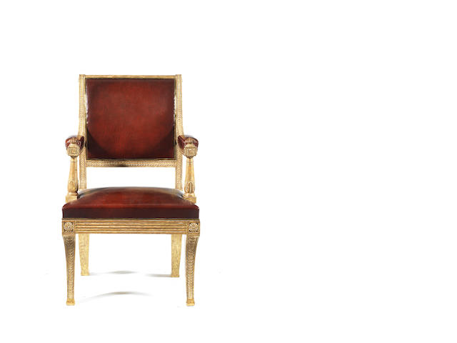 A Regency giltwood carved 'Ambassador of State'  open armchair