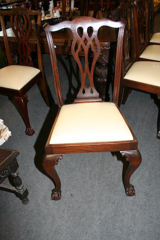 A harlequin set of ten early 20th century mahogany dining chairs