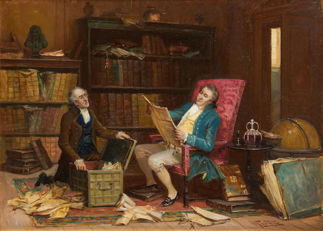 George Fox (British, 1816-1910) Lawyers in an interior