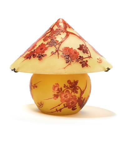 Emile Gallé A Cameo Glass Table Lamp, circa 1900