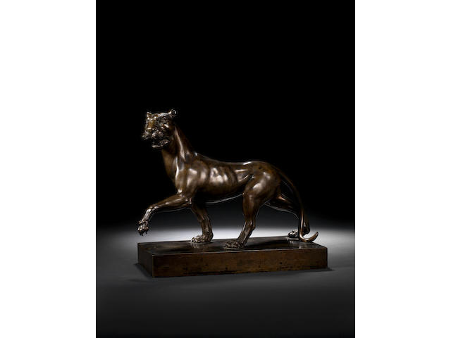 A large German 18th century bronze of a pacing pantherprobably Dresden