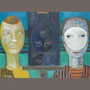Gerard Dillon (Irish, 1916-1971) Three Faces 46 x 61.6 cm. (18 x 24 1/4 in.)