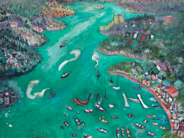 Fahrelnissa Zeid (Turkish, 1901-1991) Boats on the Bosphorus
