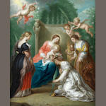 Jacob Andries Beschey (Antwerp 1710-1786) The Virgin and Child with Saints Margaret of Antioch, Catherine of Alexandria and Elizabeth of Hungary
