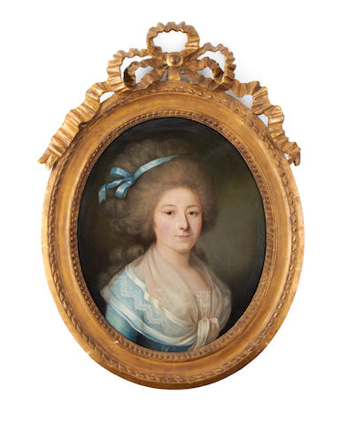 French School, circa 1780 Portrait of a lady, bust length, in a blue dress