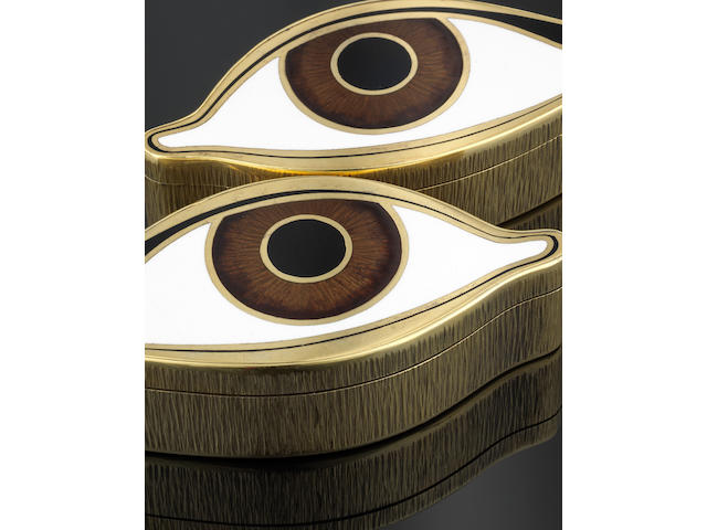 GERALD BENNEY: A rare pair of silver-gilt and enamelled eye boxes London 1973, impressed GERALD BENNEY LONDON, also with master enamellers mark RVW for Robert Vidal Winter  (2)