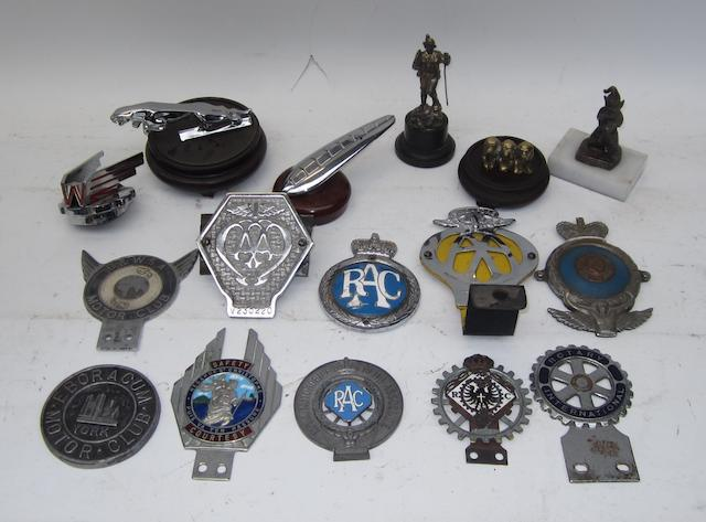 Assorted car badges and mascots,