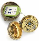 George Graham. A gilt metal pair case verge pocket watchNo.4779, Circa 1717/18
