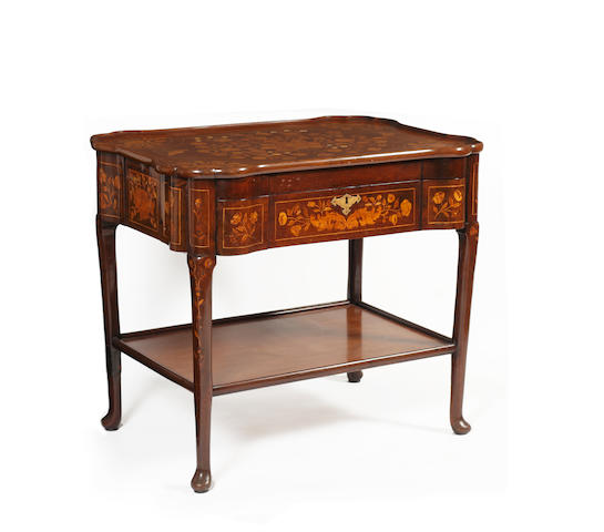An 18th Century Dutch walnut isometric strung and floral marquetry games table, with alterations, stamped and labelled 'Edwards & Roberts' of shaped outline, the tray top also inlaid with butterflies and ivory highlights to the flowers, having a frieze drawer, on club legs and pad feet, united by an underiter 86 x 61cm.