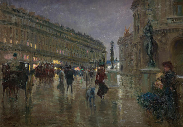 Georges Stein (French, 1870-1955) After the storm, Place de l'Opera, Paris
