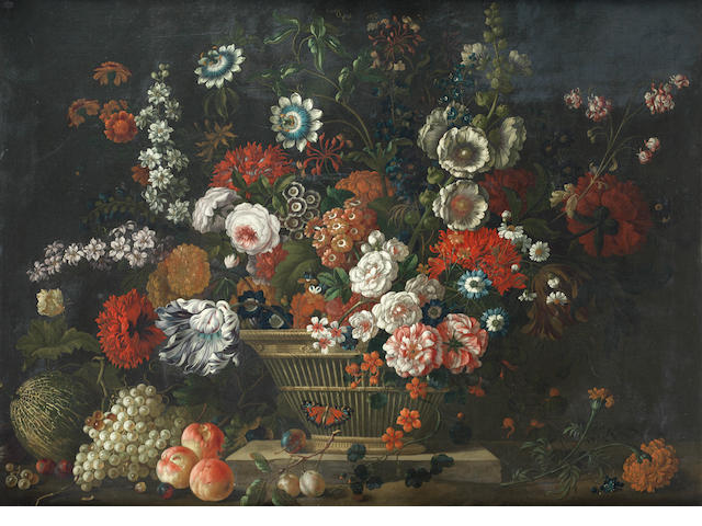 Pieter Casteels III (Antwerp 1684-1749 Richmond) Still life of flowers with a melon, grapes and peaches