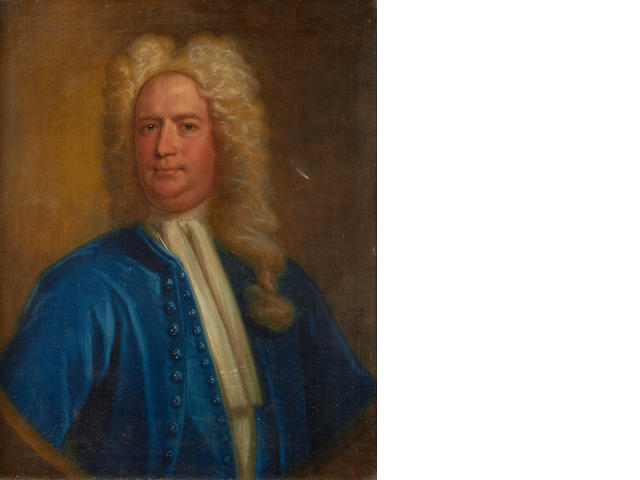 Circle of Thomas Murray (Scotland 1663-1734 London), 18th Century Portrait of a gentleman, bust-length, in a  white shirt and blue coat, in a painted oval