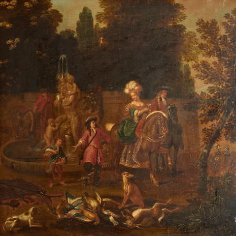 Circle of Adriaen de Gryeff (Antwerp circa 1670-1715 Brussels) A hunting party taking refreshment before a fountain
