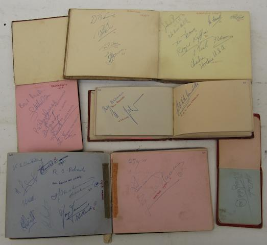 Five albums containing autographs of 1950s motorcycle riders,