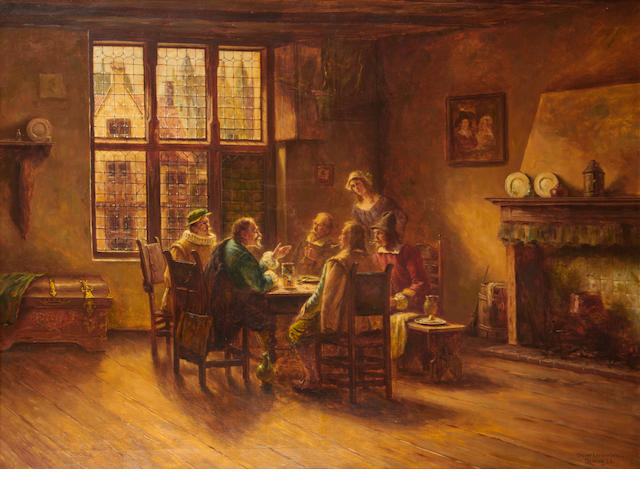 Oskar (O.) Urbahn (German) Figures seated around a dining table