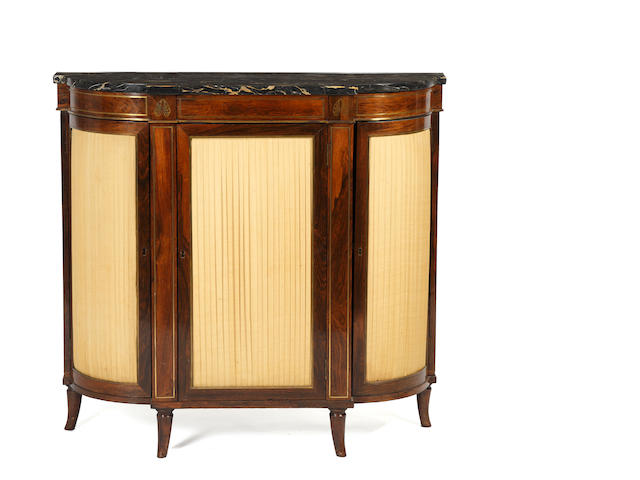 A good reproduction Regency style rosewood brass inlaid and marble topped side cabinet
