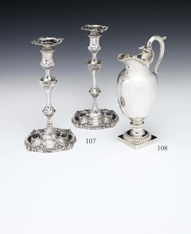 A pair of George III silver candlesticks, by David Bell, London 1760  (2)