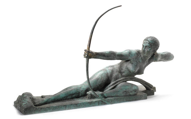 Marcel-Andre Bouraine 'Penthesilea Queen of the Amazons' a Large Verdigris Patinated Bronze Study, circa 1925