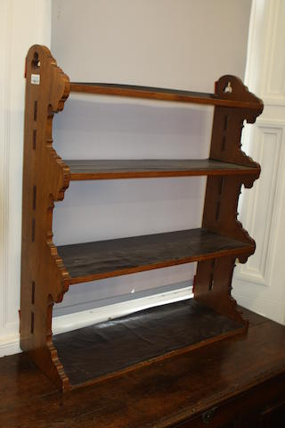 A set of 19th century oak Gothic Revival shelves