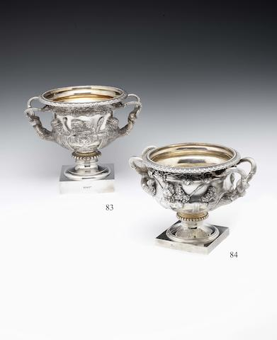 "An Edwardian silver bowl modelled as ""The Warwick Vase"" By Messrs Barnard, London 1901, incuse stamped Rossi Norwich"