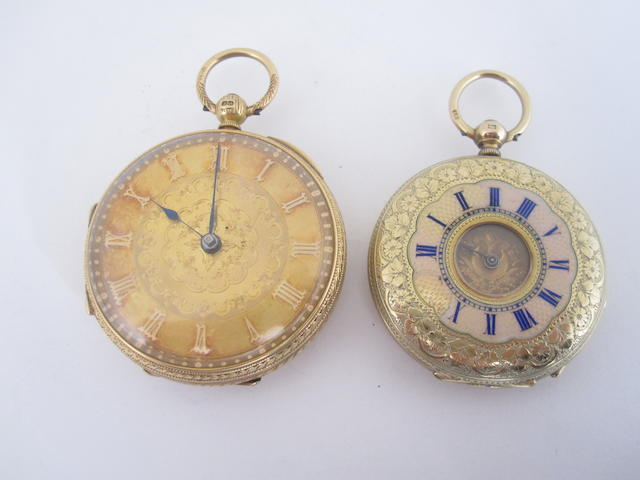 An 18ct gold open faced pocket watch, London 1886 (2)
