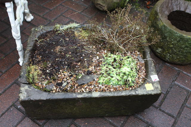 Two small stone troughs