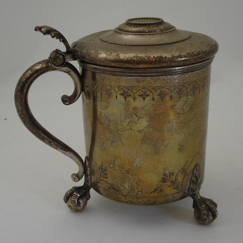 A late Victorian Norwegian white metal lidded tankard By David Andersen, Christiania