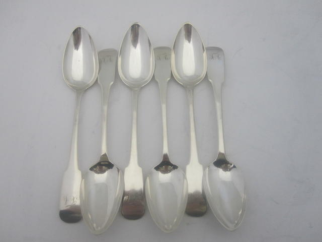 A set of six George III silver dessert spoons By Francis Howden, Edinburgh 1818
