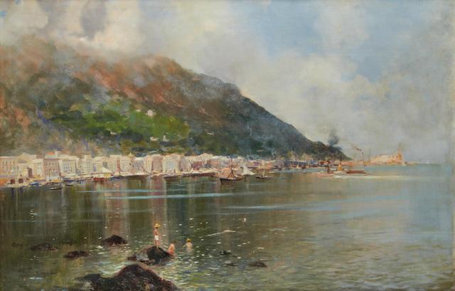 Oscar Ricciardi (Italian, 1864-1935) Castellammare Harbour, near Naples