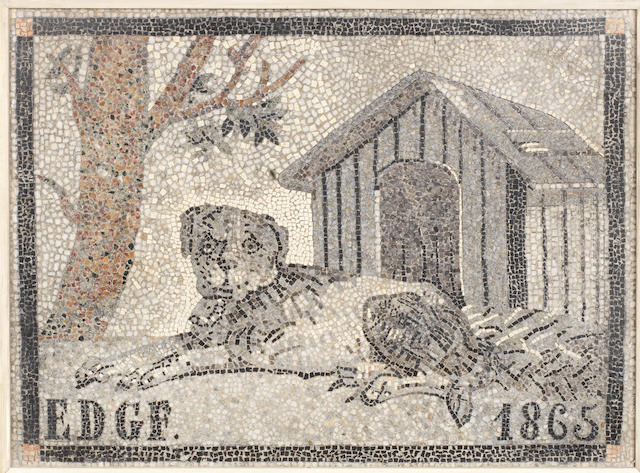An Italian 19th century mosaic of a dog dated 1865