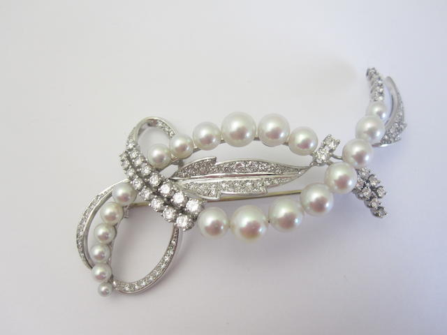 A cultured pearl and diamond brooch, by Kurtz