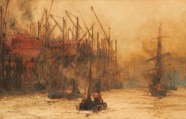 Charles Edward Dixon (British, 1872-1934) 'Building Ships'