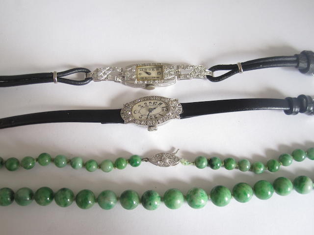 Two diamond cocktail watches and a jadeite necklace