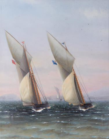 Charles Keith Miller (British, 1836-1907) A schooner from the Royal Thames Yacht Club running down wind; A schooner and cutter neck and neck (2)