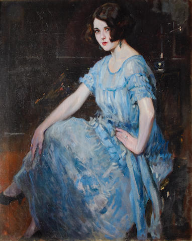 Alejandro Christophersen (Argentinian, 1866-1945) Portrait of a young woman in a blue dress