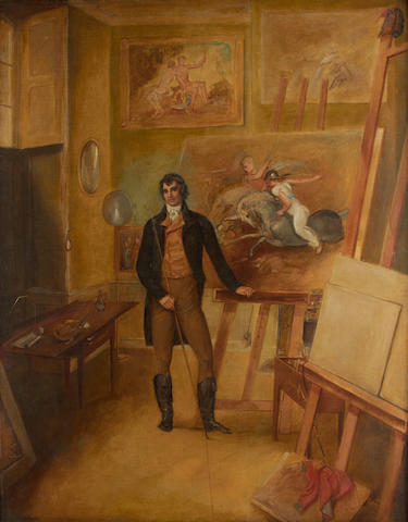 English School, 19th Century Portrait of the artist Thomas Stothard in his studio