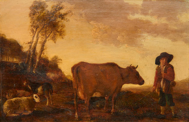 Follower of Aelbert Cuyp (Dordrecht 1620-1691) A shepherd with a cow, sheep and goat before an open landscape