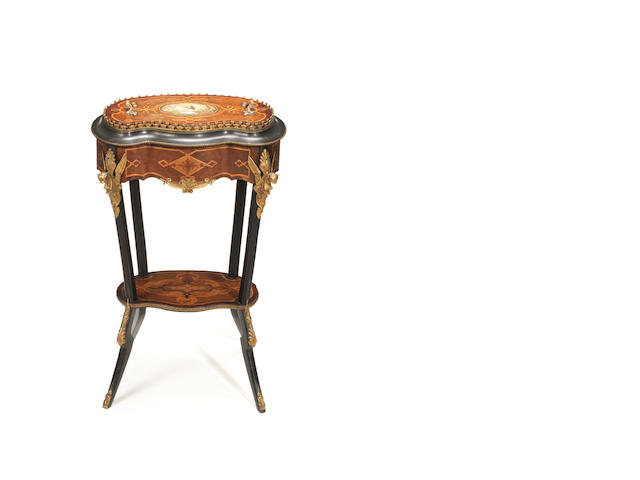 A French late 19th century porcelain and ormolu-mounted walnut, ebonised and parquetry jardinière attributed to Charles-Guillaume Diehl (1811-1885)