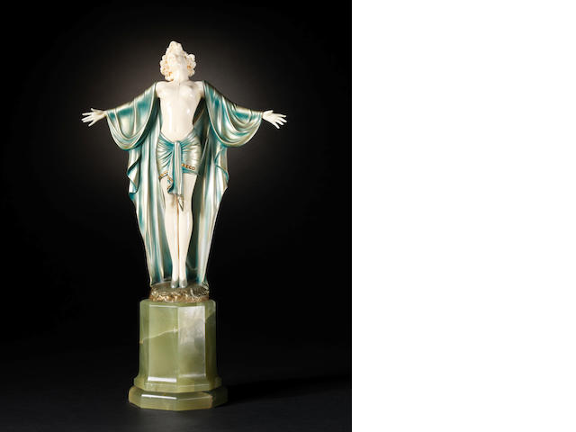 Ferdinand Preiss 'Spring Awakening' a Cold-painted Bronze and Carved Ivory Figure, circa 1925