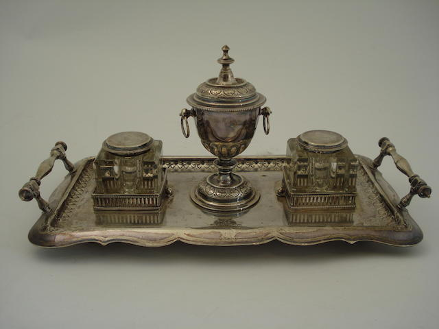 A Victorian silver desk ink stand By Fenton Brothers, Sheffield 1879