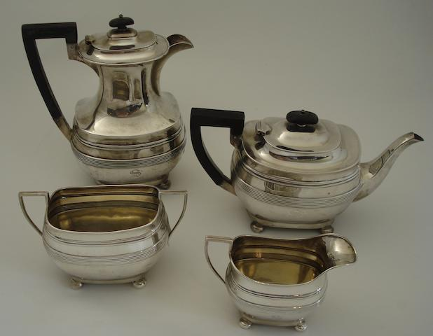 A silver four piece tea service Maker's mark T.S & S, Sheffield 1912