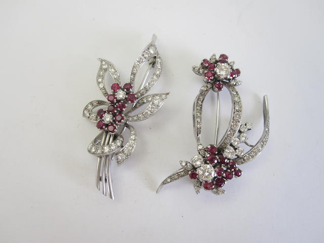 Two ruby and diamond brooches