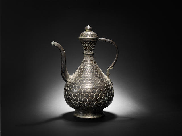 A bronze 'fish-scale' Ewer Deccan, early 18th Century
