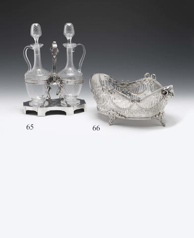 A mid-20th century American silver and glass mounted decanter stand By Tiffany, J C Moore period, New York circa 1854