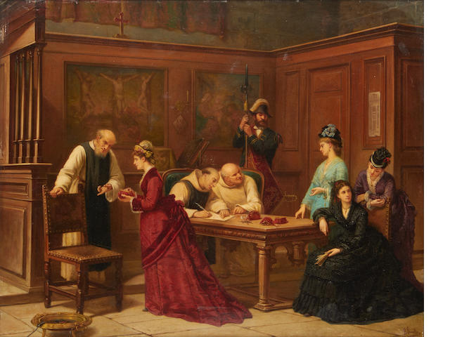 Attributed to Auguste de Pinelli (French, born 1823) A donation to the church