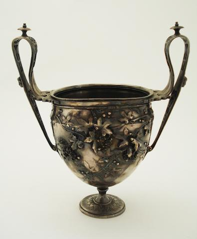 Barbedienne; a Roman style silvered electrotype goblet 19th century, Inscribed