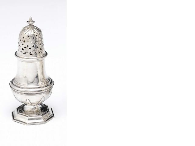"An early 18th century silver caster Stamped twice, a crowned ""B"" and a device,  the former, possibly the maker's mark of G. Bourgoo or P. Joannes Balde of Ypres"
