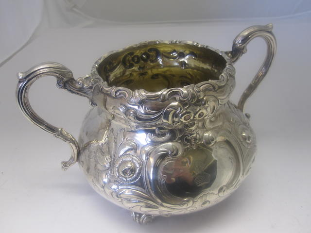 A silver sugar bowl Probably by John Smyth, Dublin 1856